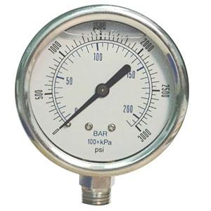 """Pressure Gauge, 0 - 200 psi/bar, 2"""" dial, ¼"""" Male NPT, Glycerin, Stainless Steel"""