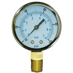 """Pressure Gauge, 0 - 160 psi/bar, 2"""" dial, 1/8"""" Male NPT Lead Free"""