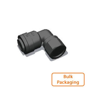 "1/4"" Tube x 1/8"" Female NPTF Elbow-Black (Bulk Pkg)"
