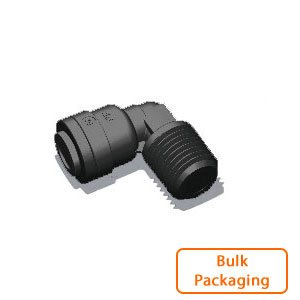 "3/8"" Tube x 3/8"" Male NPTF Elbow-Black (Bulk Pkg)"