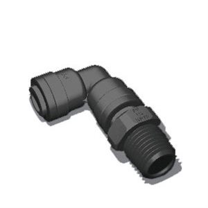 "3/8"" Tube x 1/2"" Male NPTF Swivel Elbow - Black (10/Bag)"