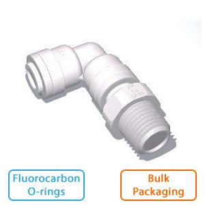"1/2"" Tube x 1/2"" Male NPTF Swivel Elbow w/Flurocarbon O-rings (Bulk Pkg)"