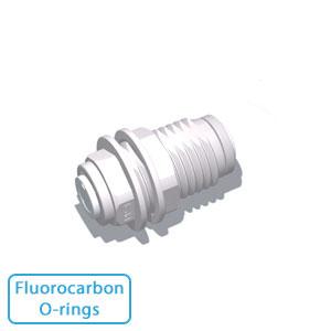 "1/4"" Tube Bulkhead Union w/Fluorocarbon O-rings"