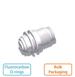 "3/8"" x 1/4"" Tube Bulkhead Union w/Fluorocarbon O-rings (Bulk Pkg)"