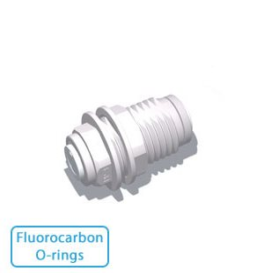 "3/8"" x 1/4"" Tube Bulkhead Union w/Fluorocarbon O-rings"