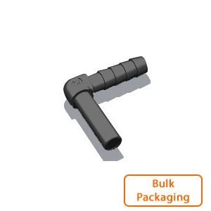 "1/4"" Stem x 1/4"" Hose Barb Elbow-Black (Bulk Pkg)"