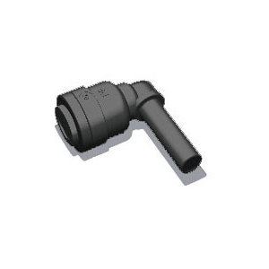 "1/4"" Tube x 1/4"" Stem Elbow - Black (10/Bag)"