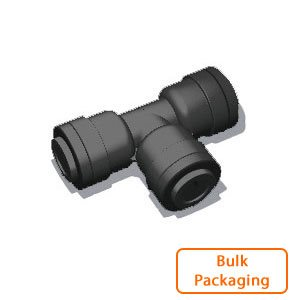 "3/8"" x 3/8"" x 1/4"" Tube Union Tee - Black (Bulk Pkg)"