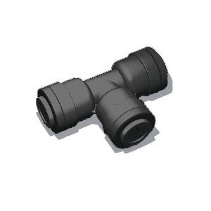 "1/2"" x 1/2"" x 1/4"" Tube Union Tee - Black (10/Bag)"